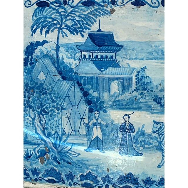 Asian Blue Tole French Style Chinoiserie Planter For Sale - Image 3 of 11