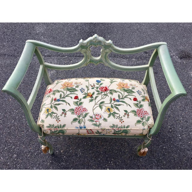 Green **Final Price** Antique Green French Provincial Carved Wood Small Bench Settee For Sale - Image 8 of 11