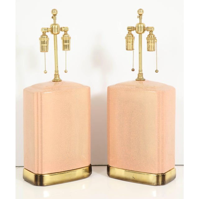 Metal Pink and Brass Crackle Glazed Ceramic Lamps - a Pair For Sale - Image 7 of 12