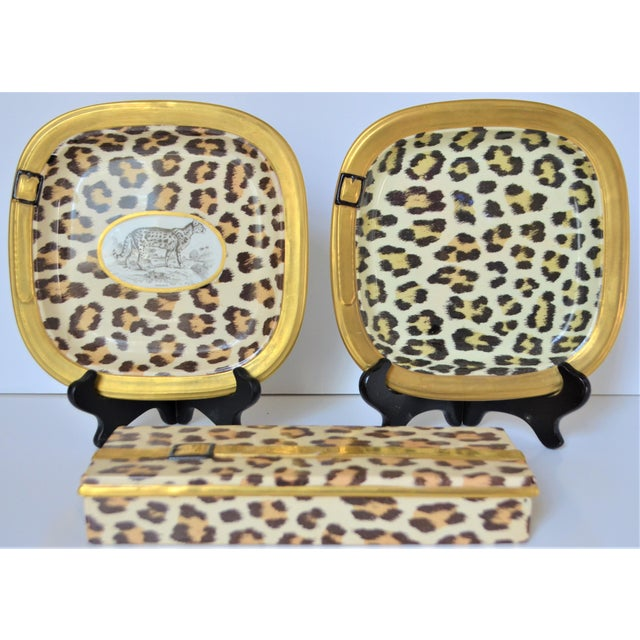 1970s Vintage Italian Mottahedeh Leopard Ceramic Set - 3 Pieces For Sale - Image 9 of 10