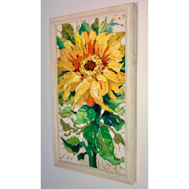 Sunflower II Contemporary Collage Painting For Sale - Image 4 of 7