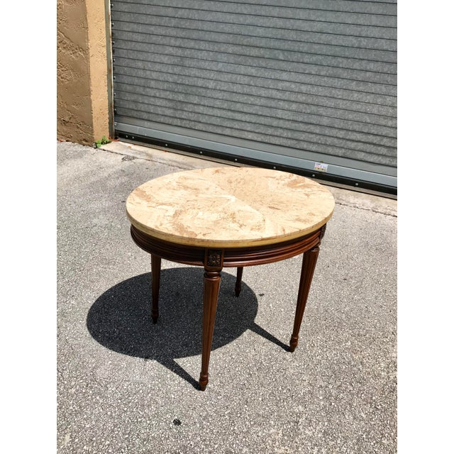 1910s French Louis XVI Marble Top Side Table For Sale - Image 12 of 13