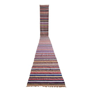 Vintage Turkish Handmade Striped Extra Long Runner Stair Tread- 2′2″ × 24′10″ For Sale