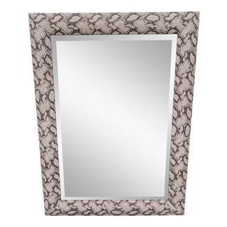 Italian Faux Snakeskin Python Wrapped Beveled Glass Mirror For Sale