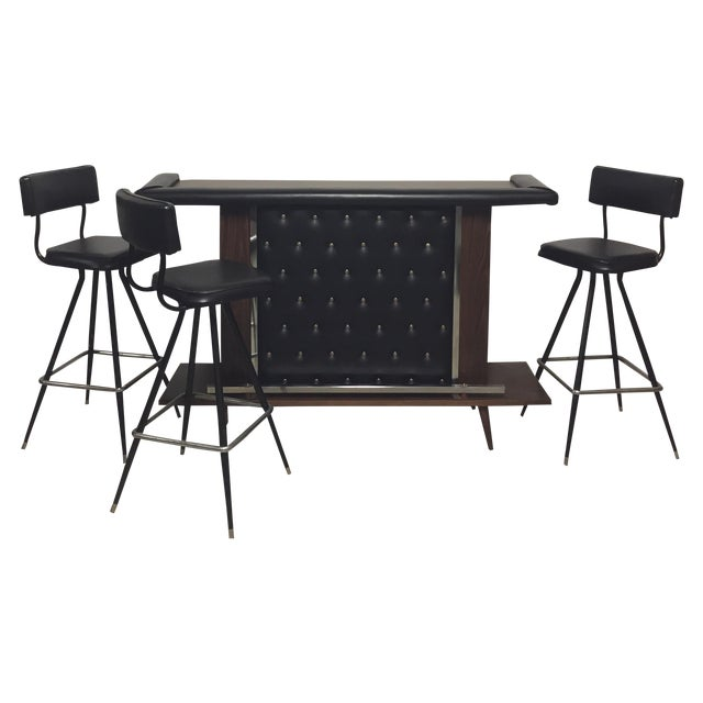 Mid-Century Modern Bar with Set of 3 Bar Stools - Image 1 of 11