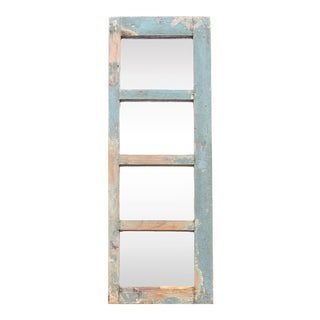 Aged Blue Paneled Window Mirror For Sale