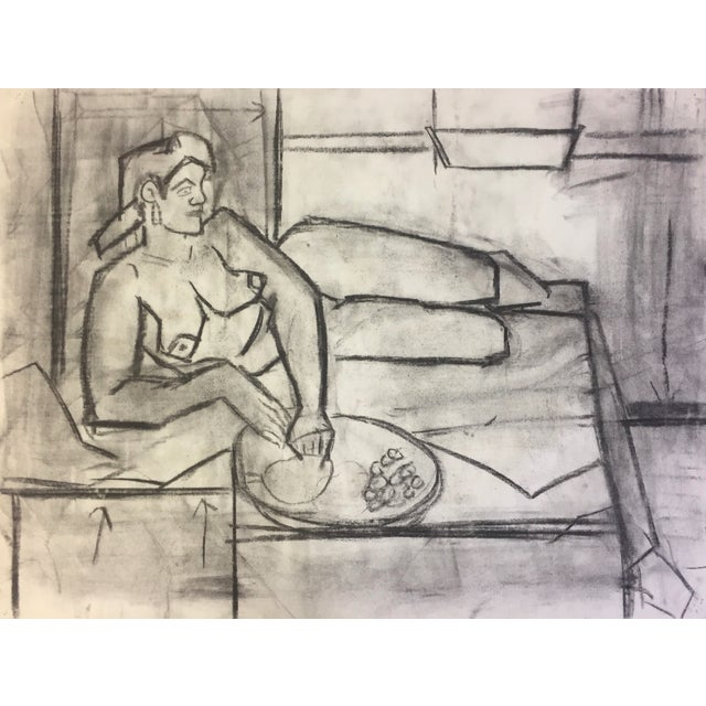 """Henry Woon Female Nude Lounging c. 1950's Charcoal on Strathmore Charcoal Paper 25""""x19 1/2"""" Unframed Unsigned ***Framed..."""