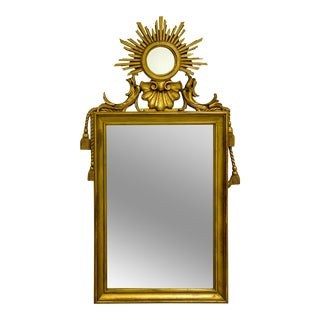 Hollywood Regency Style Giltwood Sunburst Mirror For Sale