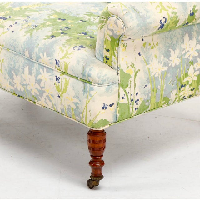 1940s French 1940s Floral Upholstered Settee For Sale - Image 5 of 12
