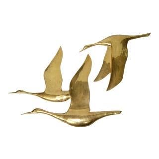 Mid Century Modern Bronze Wall Art, Wall Hanging Seagull Sculpture - a Pair For Sale