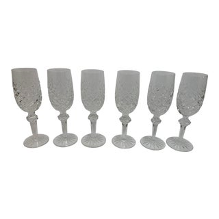 Vintage Mid-Century Modern Waterford Powerscourt Champagne Glasses Circa 1960 - Set of 6 For Sale