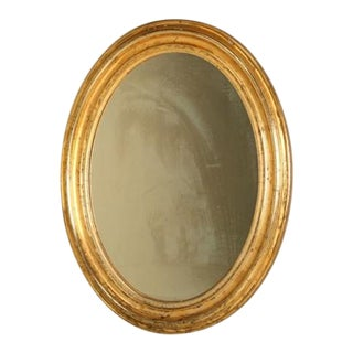 Antique French Oval Gilt Mirror For Sale