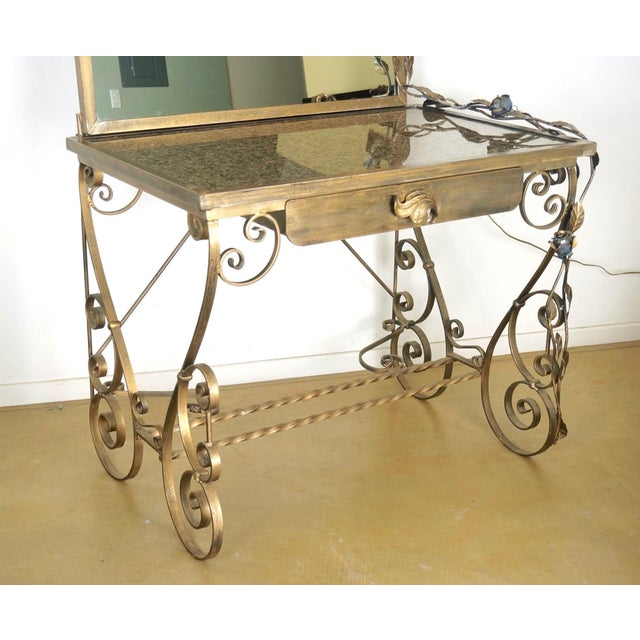 Art Nouveau Wrought Iron Vanity & Mirror With Granite Table Top , Floral Accents & Coordinating Bench For Sale - Image 3 of 13