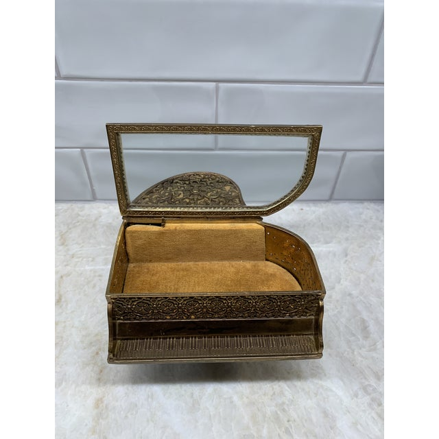 Vintage Brass Filigree Piano-Shaped Jewelry Music Box For Sale - Image 4 of 11