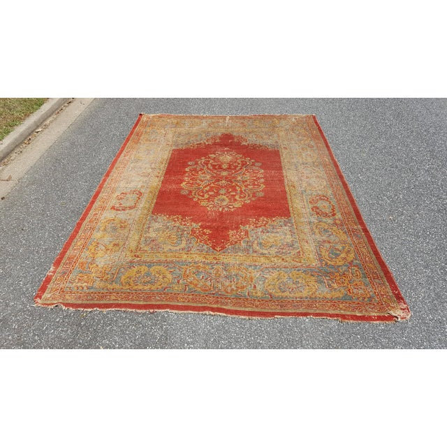 Early 19th Century Antique Turkish Oushak Rug - 9′6″ × 13′4″ For Sale - Image 12 of 12