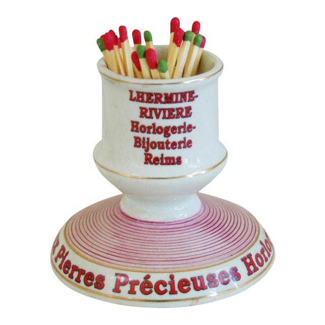 French Parisian Cafe Porcelain Match Striker & Holder For Sale