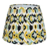 Image of Pleated Ikat Yellow Blue Lamp Shade For Sale