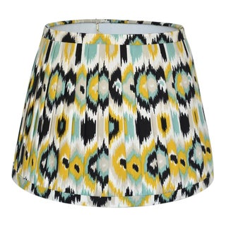 Pleated Ikat Yellow Blue Lamp Shade For Sale