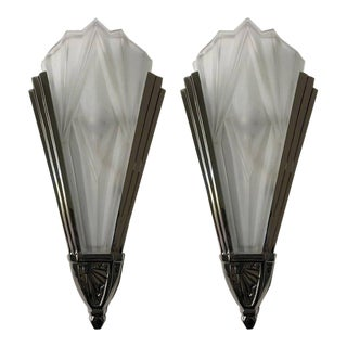 Beautiful French Art Deco Wall Sconces Signed by Degue - a Pair For Sale