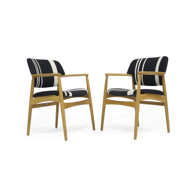 Aksel Bender Madsen for Fritz Hansen arm chairs with white oak frames. Newly restored and upholstered in designer wool...