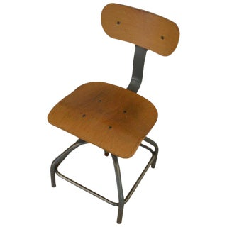 Industrial Steel Stool With Plywood Seat