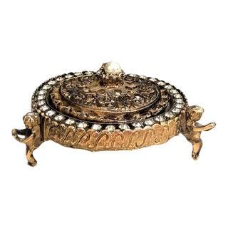 1950s Gold Filigree, Pearl & Rhinestone Lidded Glass Cherub Box For Sale