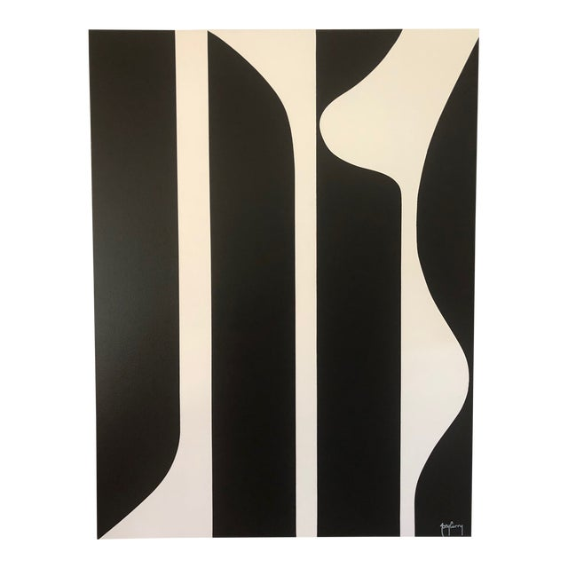 Large Modern Black & White Painting by Tony Curry For Sale