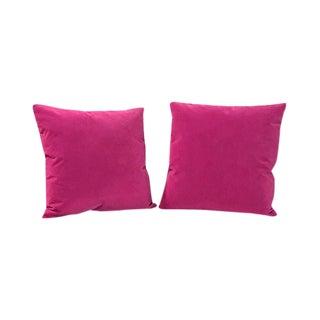 Kim Salmela Berry Velvet Square Throw Pillows - a Pair For Sale