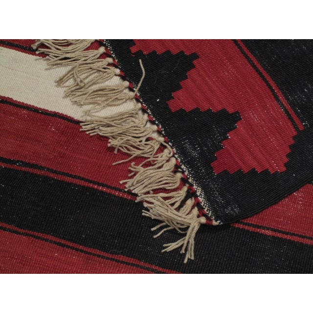 Red, White & Black Kilim (Wide Runner) For Sale In New York - Image 6 of 6