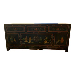 Vintage Japanese Hand-Painted Chest For Sale