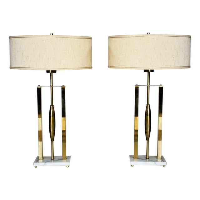 Vintage Brass & Marble Lamps - A Pair For Sale - Image 9 of 9