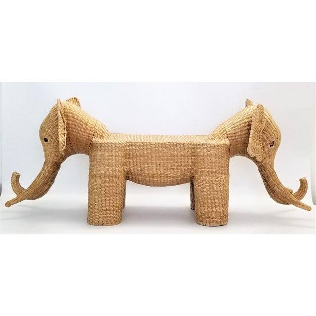 Mario Lopez Torres Elephant Bench - Signed 1974 -- Palm Beach Boho Chic Mid Century Modern Wicker Seagrass Animal For Sale - Image 13 of 13