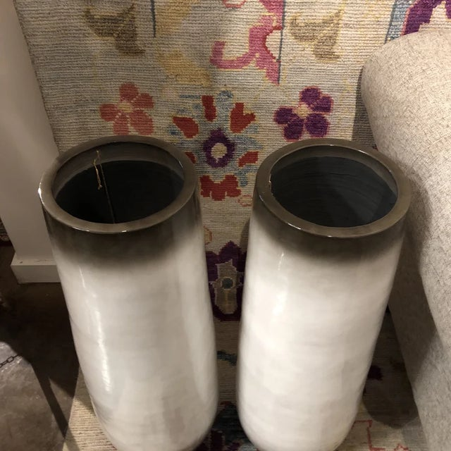 Pair Of Large beige with smokey accents ceramic vase.