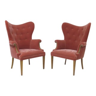 Pair of Hollywood Regency Pink Mohair Lounge Chairs