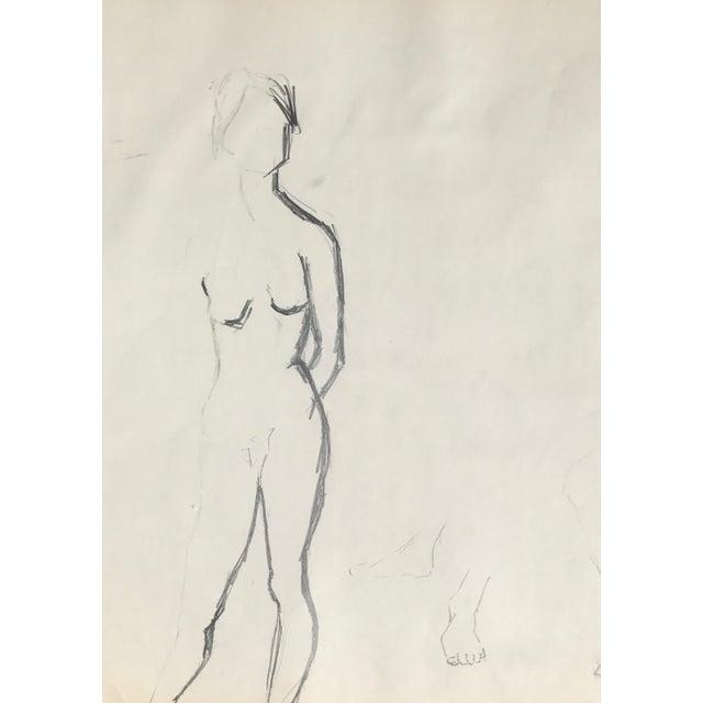 Vintage Charcoal Nudes Sketch For Sale - Image 4 of 4