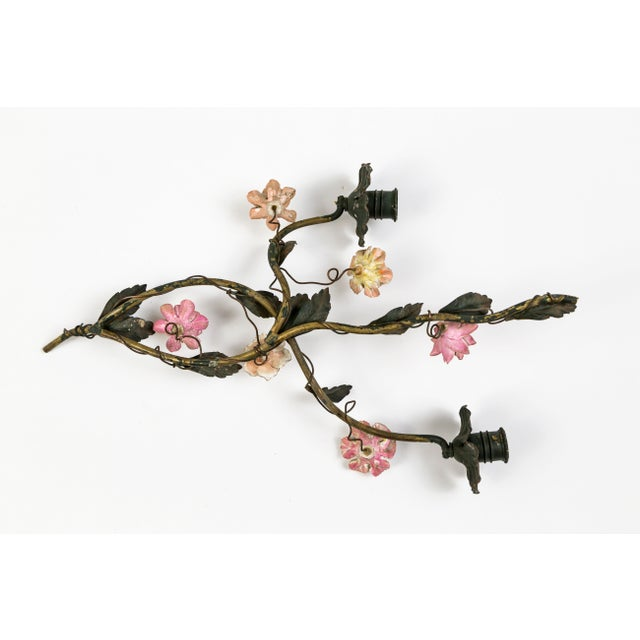 Tole and Porcelain Floral Wall Hanging Candle Holders- A Pair For Sale - Image 12 of 13