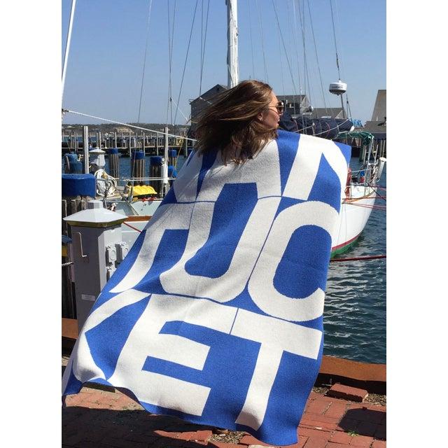Liz Roache Nantucket Throw, Blue For Sale - Image 4 of 8