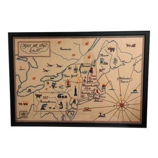 Framed 1935 Crewel Work Map of Northeast Usa For Sale