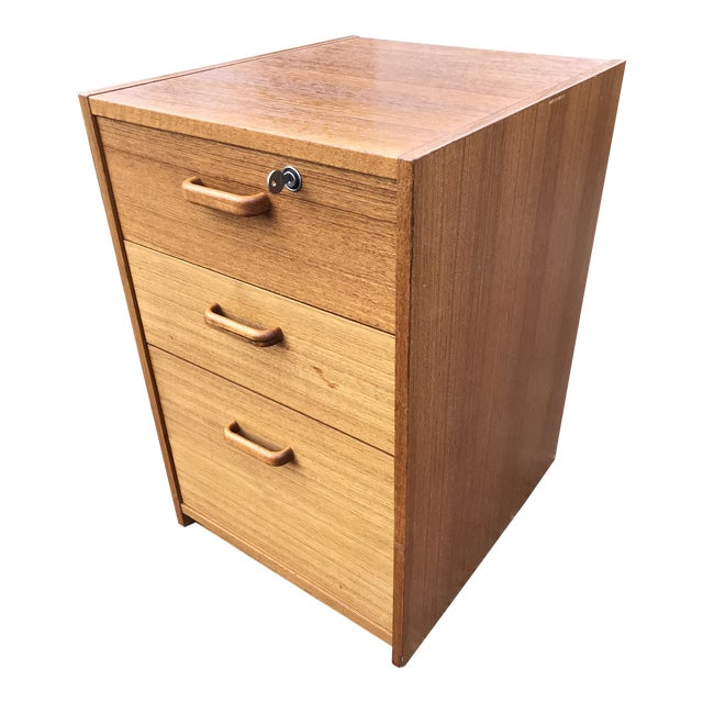 Danish Teak File Cabinet on Casters by Jesper For Sale