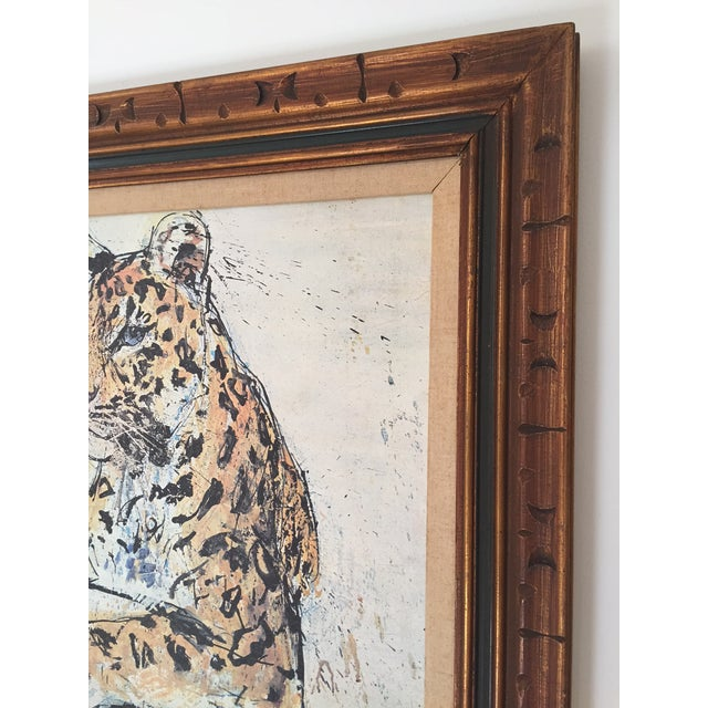 1970s Vintage Leopard Lithograph on Canvas - Image 5 of 10