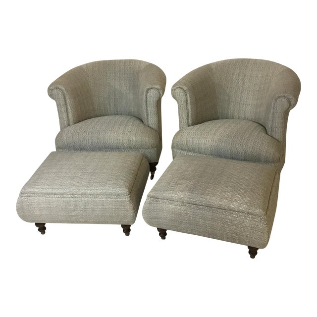 Mid-Century Club Chairs and Ottomans - 4 Pieces - Image 1 of 6