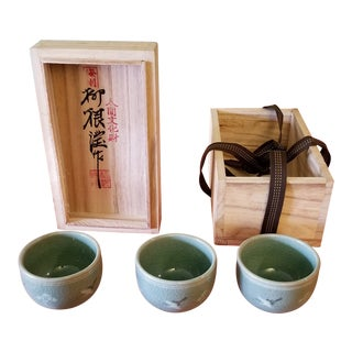 Korean Goryeo Style Celadon Green Glaze Ware by Yu Geun-Hyeong (柳 海剛 1894-1993) - Set of 3 For Sale