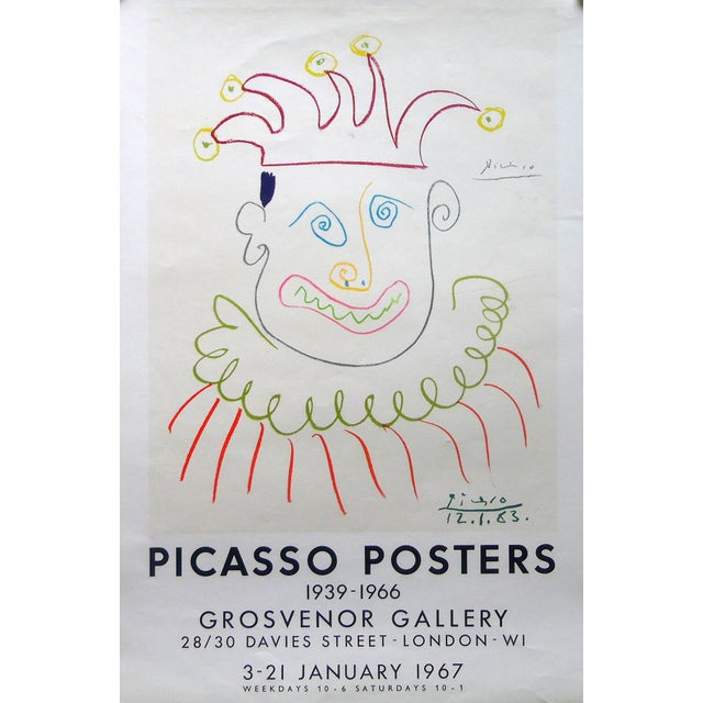 Pablo Picasso print, Grosvenor Gallery, London 1967. Edition 150! Color photolithography, printed by Mourlot, Paris 1966....