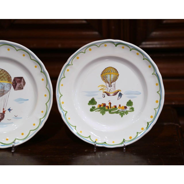 Set of Six French Hand-Painted Ceramic Hot Air Balloon Plates From Brittany For Sale - Image 11 of 13