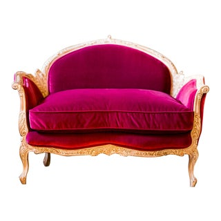 Louis XV Style Pink Raspberry Settee