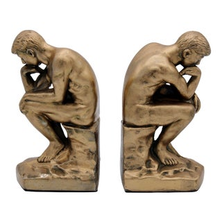 1928 Metallic Gold Thinking Man Bookends For Sale
