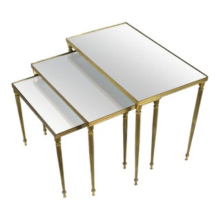 Set of Three Brass Nesting Tables With Mirrored Tops