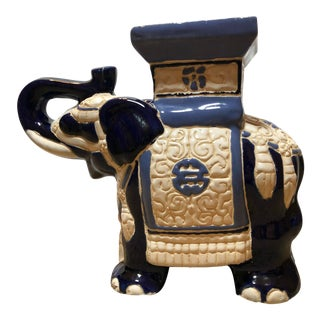 Blue and White Elephant Ceramic Stool For Sale