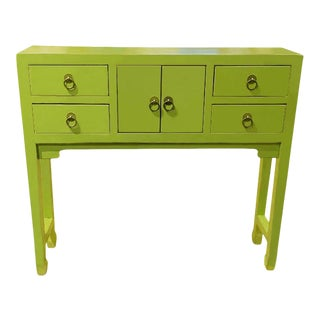 Beijing Asian Style Green Console Table For Sale