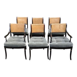 Set of 6 Kemble Designer Regency Style Dining Chairs W Mohair Cushions